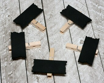 Mini Chalkboard Clothespin Signs, Set of 5