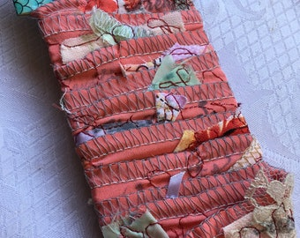 Hand Stamped Coral Ribbon, Junk Journal Trim, Vintage Look Lace and Satin Ribbon, Mixed Media Accent Ribbon and Fringed Tag