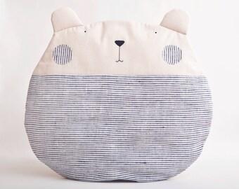 Bear Pillow Round, Blue Floor Cushion, Decorative Pillow, Blue Nursery, Housewarming Gift, Nautical Nursery Decor, Blue Baby Shower Gift