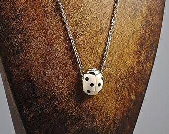 Vintage RARE Ladybug Necklace Lucky Ladybug 1960s Good Luck Bug Jewelry