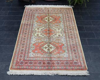 FREE SHIPPING 2.9 x 4.4 Vintage Turkish Rug, Oushak Rug, Turkish Silk Rug, Turkish Flos Silk Rug, Wool on Silk, Bright Color,  No 1038