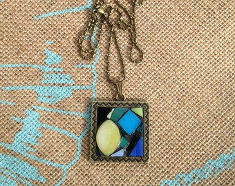 Stained Glass Mosaic Necklace/ Mosaic Necklace/Stained Glass Pendant /Abstract Necklace/ Boho Necklace/Boho Chic/Gift for Her/Green/P37
