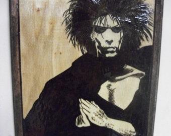 Dream Sandman Hand Wood Burned Plaque Neil Gaiman Endless Morpheus Pyrography Woodburning