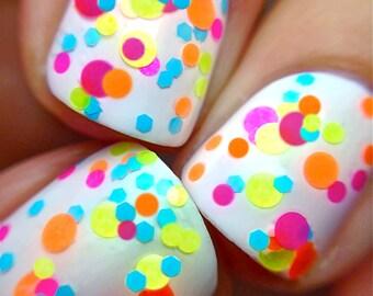 SUNBURST- Polka Dot-NEON-Custom-Blended Indie Glitter Nail Polish / Lacquer