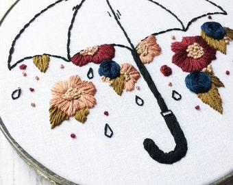 Raining Flowers Hand Embroidery hoop art Wildflower embroidery Custom embroidery hoop Hand stitched Blackwork Umbrella Embroidery