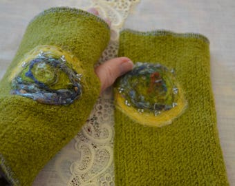 Hand felted  wool fingerless gloves with roving and tiny crystal beads
