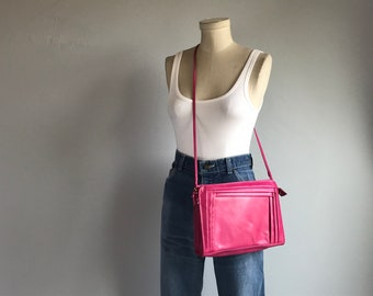 Vintage 80s Leather Shoulder Bag / 1980s Bright Pink Leather Purse Cross Body Clutch