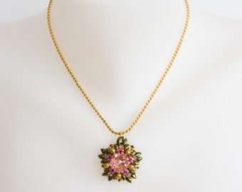 Antique Rose Pink, Gold and Dark Metallic Green and Golden Swarovski Crystal Beaded Pendant, Gold Plated Serpentine Chain Necklace. S90