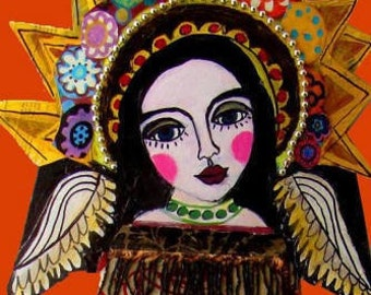 50% SALE- Virgin Of Guadalupe Mexican Folk art Art Print Poster by Heather Galler (HG880)