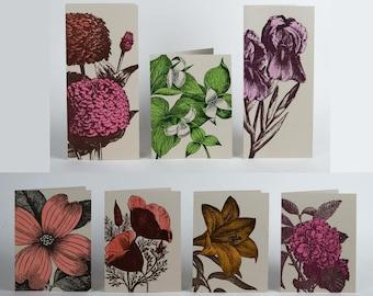 FARMERS' MARKET FLOWERS 7 letterpress cards with envelopes