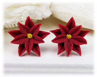Red Poinsettia Earrings Stud or Clip On - Poinsettia Jewelry