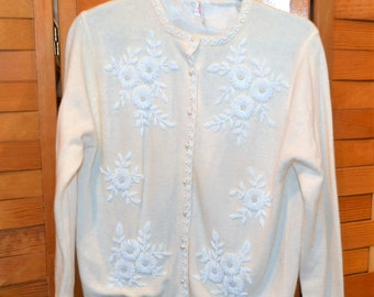 Vintage Sweater Ivory with White Beads Cardigan