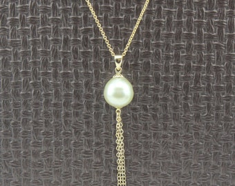 Handcrafted 10.7mm South Sea Pearl Pendant 14Kt Gold  filled Chain necklace