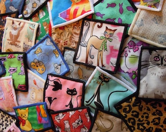 One Dozen Assorted Cotton Prints Catnip Cat Sacs