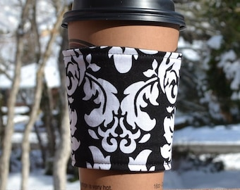 FREE SHIPPING UPGRADE with minimum -  Fabric coffee cozy / cup holder / coffee sleeve  -- Beautiful Black and White Damask