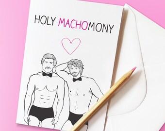 Funny Gay Wedding Card 'HOLY MACHOMONY'