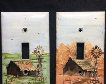 Country Barn Scene  Light  Switch Plates pair