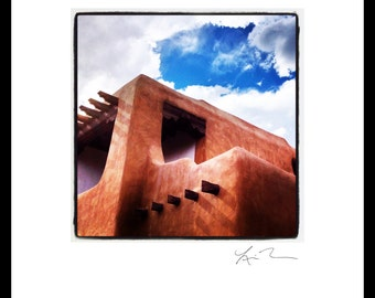 Adobe House - Photographic Print or Canvas Wrap - Chicago Photography Artwork - New Mexico - Santa Fe fine art home fun decor orange blue