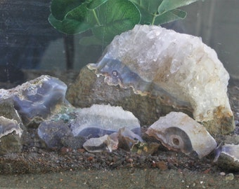 Aquarium Terrarium Rock, White Blue Ice Palace Dramatic Tank Decor, Quartz Agate Stone Package