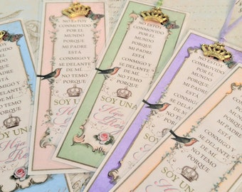 """SPANISH Daughter of the King Gift Bookmark Espanol Princess Favor Sunday School Gift Bible Study Gift Ladies Ministries """"ALL COLORS"""" Setof5"""