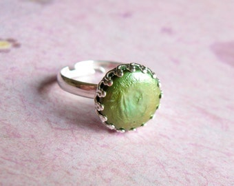 Green Pearl Ring Coin Pearl Ring Silver Pearl Ring cocktail ring statement ring valentines day gift for her under 25