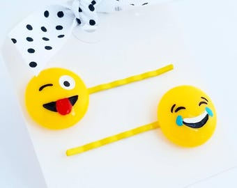 emoji hair pins set of two for little girls hair accessories bobby pins