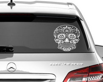 Sugar skull decal, sugar skull laptop decal, Sugar skull car decal,Day of the dead car decal, Dia De Losmuertos decal