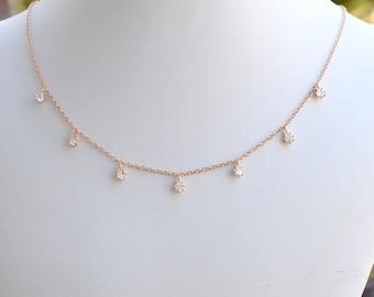Handgefertigte Rose Gold Zirkonia Teardrop Halsband, Rose Gold Halsband, CZ-Halsband, Rose Gold, Rosa Halskette, Hochzeitsschmuck, N063