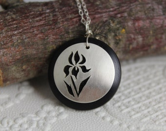 Irises and East African Blackwood necklace - sterling silver domed cutout, nature lover