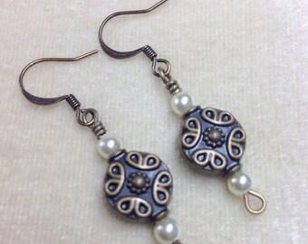 Bronze Medallion Dangle Earrings, French Hook Surgical Steel Wire Earrings