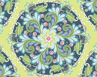 Fabric, Flourish Medallion Lime, Cotton Fabric, Lime Fabric, Fabric by the Yard, Fat Quarter, Quilting Fabric, Sewing