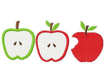Row of Apples Embroidery Design - Instant Download