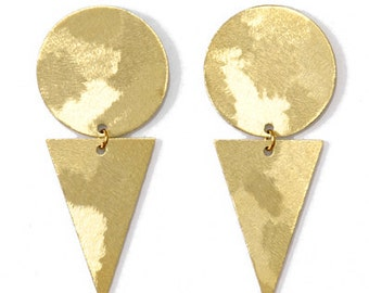 Geometric brass earrings-minimalist brass studs-Becky
