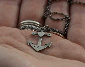 Sterling Silver Anchor And Heart Pendant Necklace - Nautical, Tattoo, Sailor