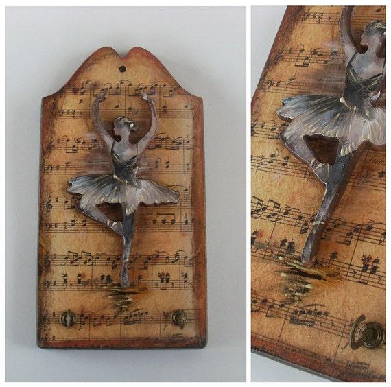 BALLERINA- Wooden Key Holder - Totally Handmade, Hand carved and Handpainted