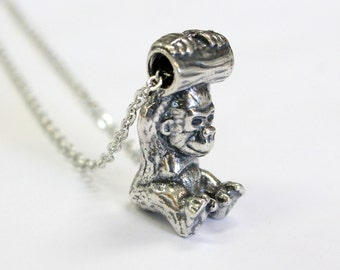 Gorilla Necklace Baby Gorilla Pendant Necklace Silver Gorilla Necklace Charm 444
