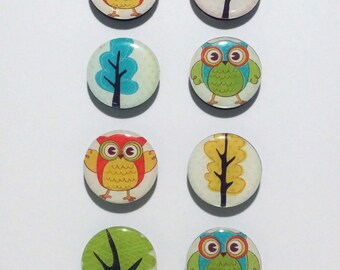 Owls and Trees Fridge Magnets / Refrigerator Magnets / Magnet Set