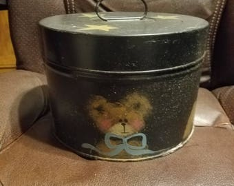 Antique Metal Film Canister Hand Painted Bear