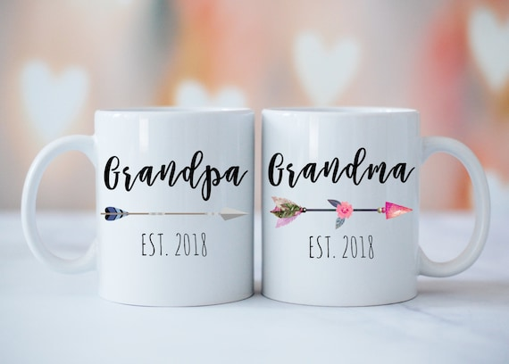 Grandparents Mug Set, Grandma Grandpa Mugs, Baby Announcement, New Grandparents, Grandparents Gift, Tribal Grandma Grandpa Mug Set