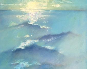 """Seaside Oil Painting """"Brooding Sea"""" 20 x 24  Original Seascape Art"""