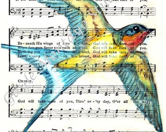 Barn Swallow© Spiritual Song Page 4x6, 5x7, or 8x10 Print God Will Take Care Of You INSTANT DIGITAL DOWNLOAD