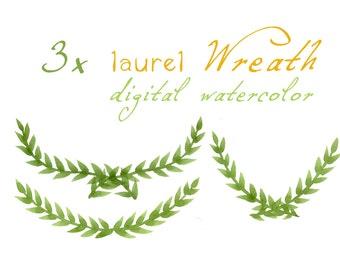 Digital Clipart, Watercolor Laurels, Watercolor Laurel Wreath