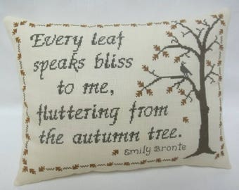 Autumn Leaf Cross Stitch Pillow Emily Bronte Quote Accent Pillow Fall Decor Author Quote Shelf Pillow