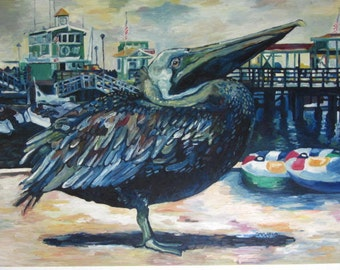 """Oil Painting """"Pelican on Catalina Island"""""""