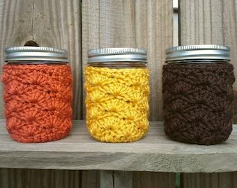 Mason Jar Cozy - Half Pint Sized Jar Cover - Crochet Jar Sleeve - Acrylic - Home Office Holiday Decor - You Choose Color  - MADE TO ORDER