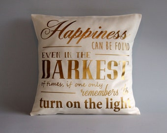 Harry Potter pillow - Gold throw pillow cover - 16x16 18x18 20x20 24x24 - Dumbledore quote pillow - Harry potter cushion -
