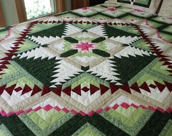 "Queen Quilt ""Eureka""   Unique Handmade Quilt, Quilts, Quilted Queen Blanket, King Quilt"