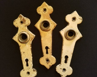 Set of 3 Art Deco Brass Door Plates 1930s Escutcheon