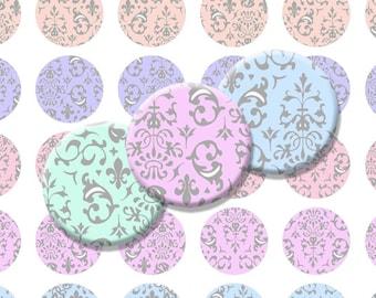 Damask Pastel Printable 1-Inch Circles / Bottlecap Images / Light Rainbow Hues / swirly vintage rococo designs / Digital Collage Sheet