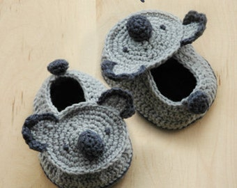 Koala Bear Baby Booties Preemie Socks Animal Shoes Newborn Slippers Koala Moccasins Crochet Pattern & Koala Crochet Applique (KB01-B-PAT)